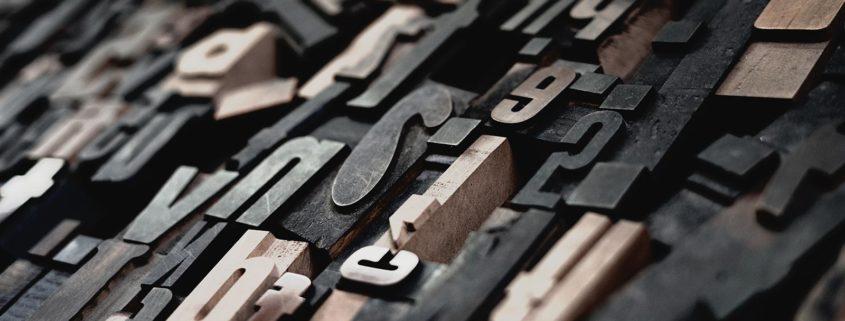 Lettern für den Schriftsatz